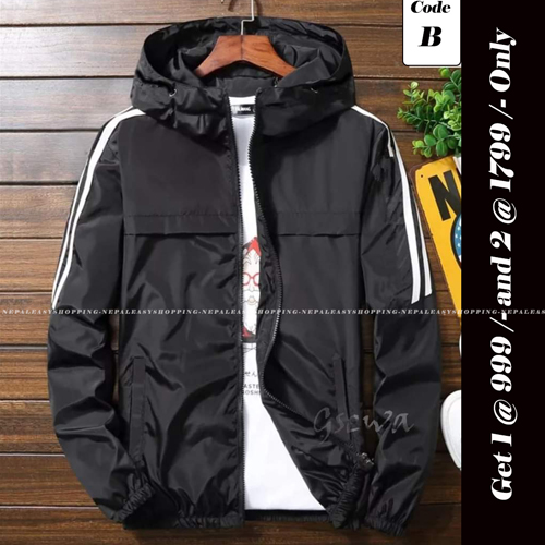 Unisex's Double-Layer Fashion Windbreaker Black  jackets
