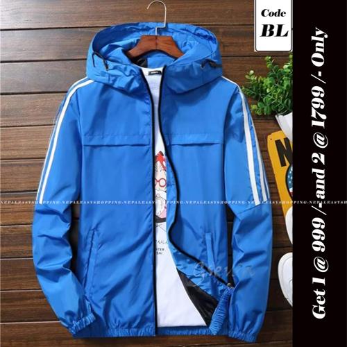Unisex's Double-Layer Fashion Windbreaker Blue jackets