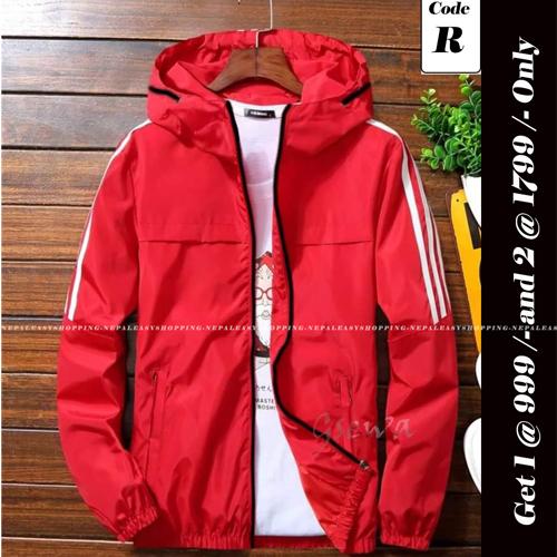 Unisex's Double-Layer Fashion Windbreaker Red jackets