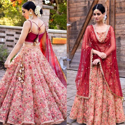 Red Sequence Semistitched  Lehenga Sets For Women