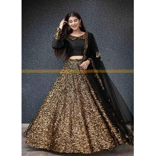 Dubai Creation Gold Women's Velvet Sequence Work Lehenga Choli - Free Size