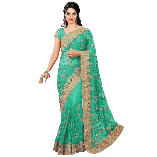 Light Green Color Banarasi Saree with Blouse For Women