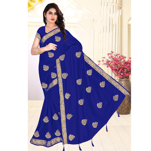 Blue Color Georgette  Saree with Blouse For Women