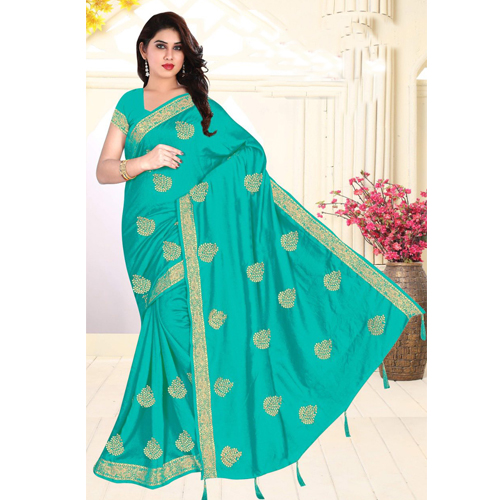 Green Color Georgette  Saree with Blouse For Women