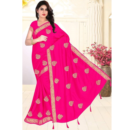 Pink Color Georgette  Saree with Blouse For Women