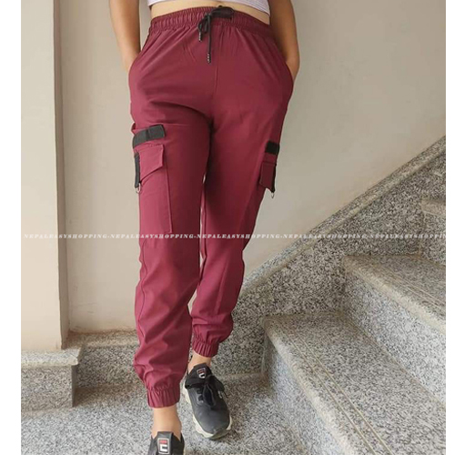 Women's Casual Stretch Drawstring Maroon Jogger Pants  with Pockets