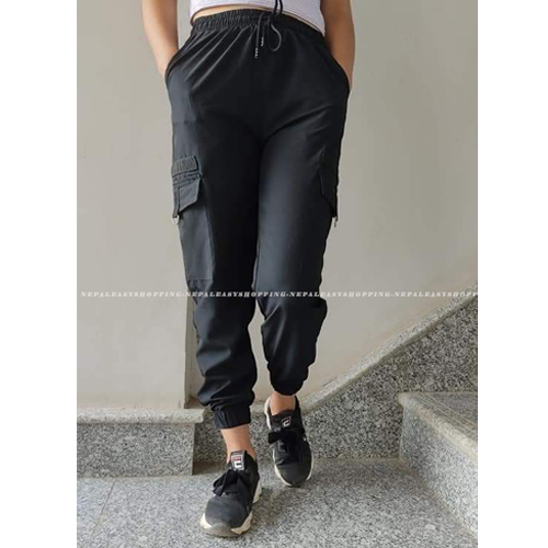 Women's Casual Stretch Drawstring Black Jogger Pants  with Pockets
