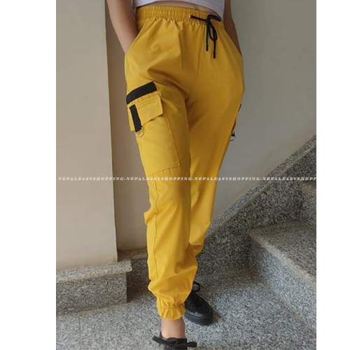 Women's Casual Stretch Drawstring Yellow Jogger Pants  with Pockets
