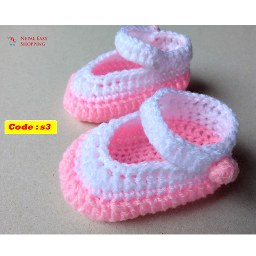 Newborn Knit Acrylin Pink Shoes, Soft Acrylic Baby  Baby Girl Welcome Gift,Newborn Girl Shower Gift