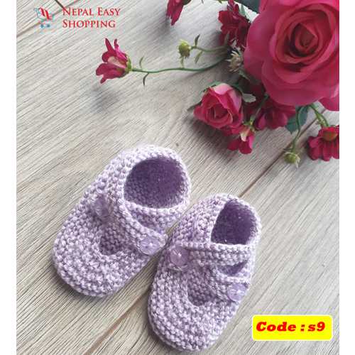 Handmade Newborn Knit Acrylin Purple Shoes, Soft Acrylic Baby Booties, Baby Girl Welcome Gift,Newborn Girl Shower Gift