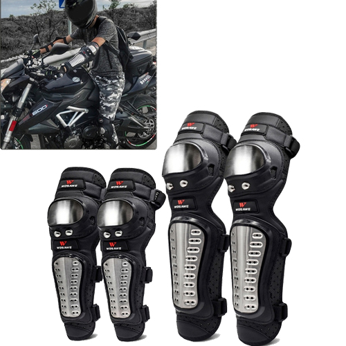 AllExtreme EXPBKG4 2nd Generation Alloy Steel Elbow Guard Flexible Breathable Adjustable Knee Shin Armor Protector with Mocrofiber Cleaning Towel for Bikers and Riders (Black)