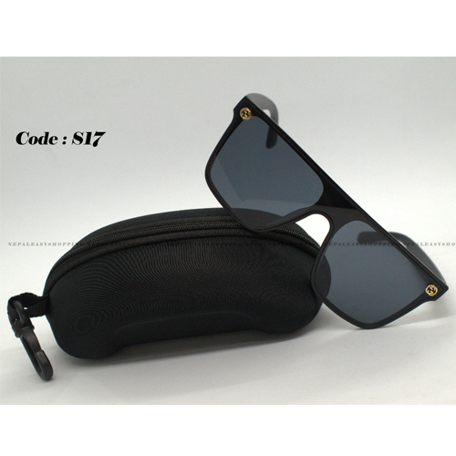 Men's Black Rectangular  Sunglasses