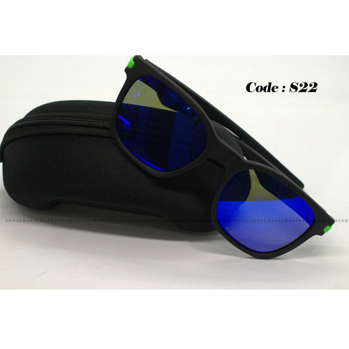 Men's Flat Sunglasses With Green Frame texture