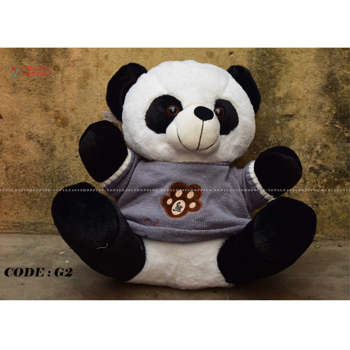Sitting Panda Soft Toy Teddy Bear Toy (Small, Black/White)