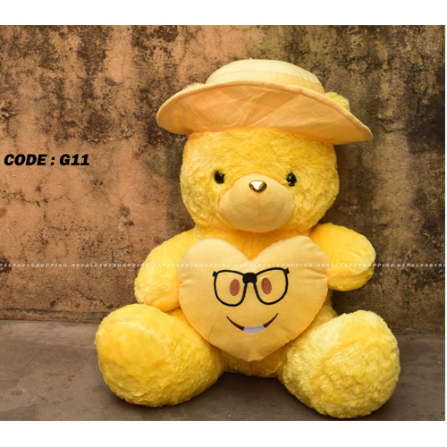 Yellow Cap Soft Toy for Kids, Teddy Bear Loveable & Huggable