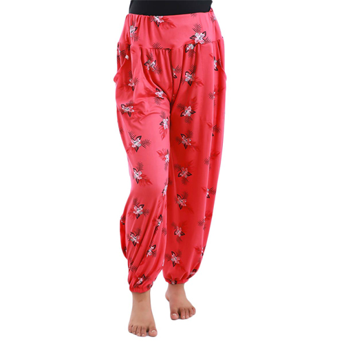 Women's Stylish Print Full Length Red Palazzo for Girl