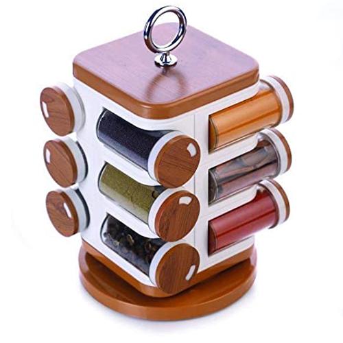 12-Jar Revolving Spice Rack Masala Box - Wooden Finish
