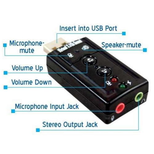 Usb 7.1 Channel 3D Stereo Audio External Sound Card Adapter With Mic - Plug And Play