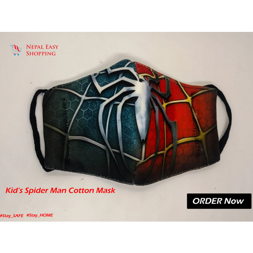 Spiderman Printed Cotton Cloth Face Mask Bundle For Kids