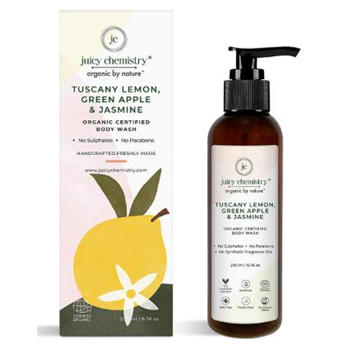 Juicy Chemistry Body Wash For Dry Skin with Tuscany Lemon, Green Apple & Jasmine Lemon 200 ml