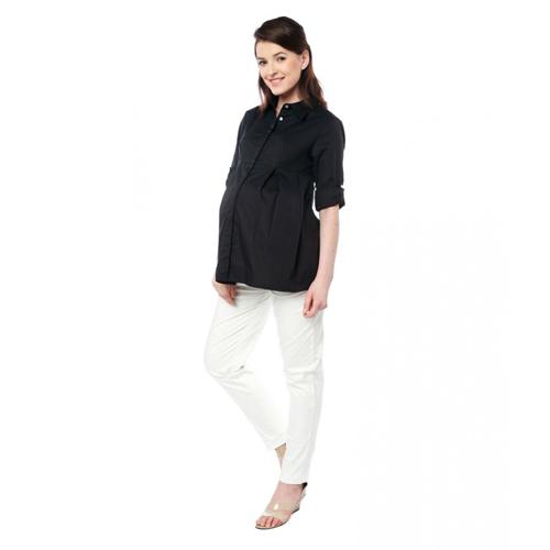 Nine Maternity Simple Black Nursing Shirt
