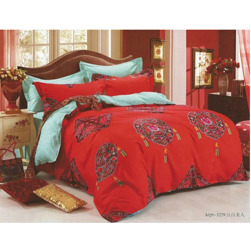 Pure Red Cotton King Sized Bed Sheet With 2 Pillow Covers