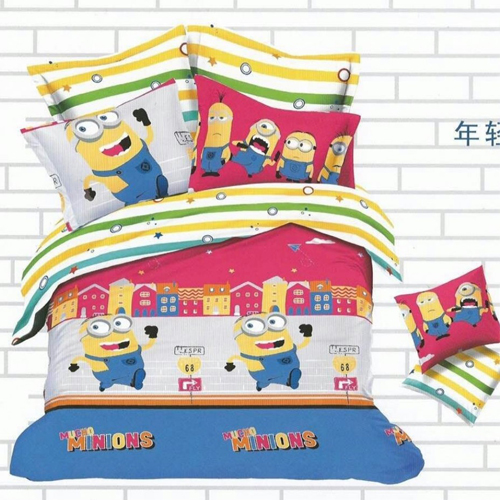 Minions King Sized Bed Sheet  2 Pillow Covers