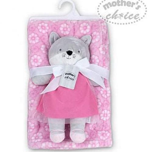 Fleece Blanket With Koala Plushtoy Pink
