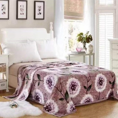 Brown Flower Warm Faux Mink Flannel King Sized Bed Covers