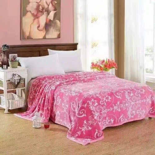 Pink Warm Faux Mink Flannel King Sized Bed Covers