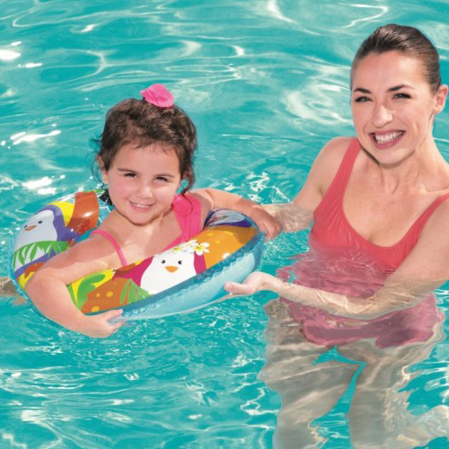Bestway 36113 Sea Adventures 51cm Kids Swim Ring Inflatable Rubber Ring Tube For Kids 3-6 Years
