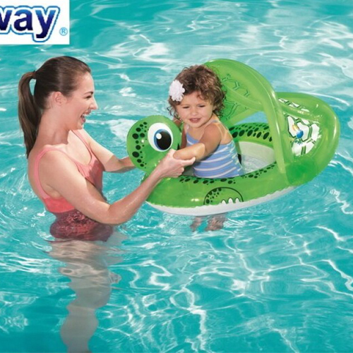 Swim Ring Turtle Shaped Baby Floating Chair With Uv Sun Shade