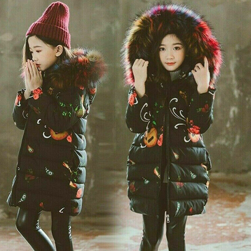 Girls Winter Hooded Parka Long Fur Jacket Coat Warm Baby Children Padded Thick