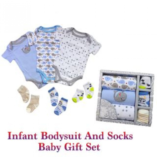 infant Baby Gift Set 3 Pc's Bodysuit & 3 Pair Of Socks