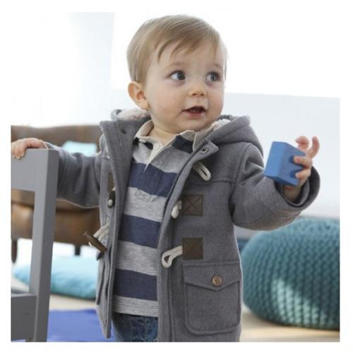 Baby Boys Winter Warm Outerwear Thicken Hooded Faux Leather Fleece Jacket/overcoat