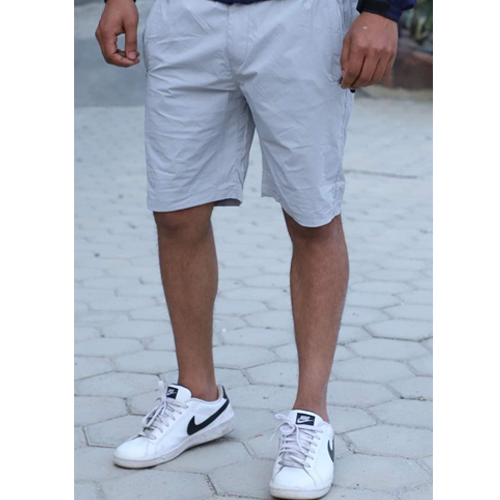 Men's Regular White Fit Cotton Woven Shorts
