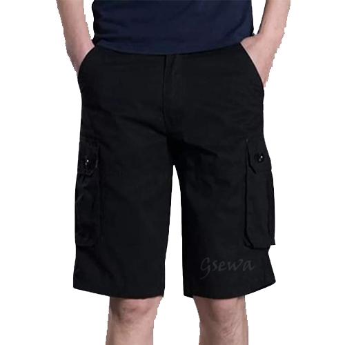 Men's Black Cotton Shorts
