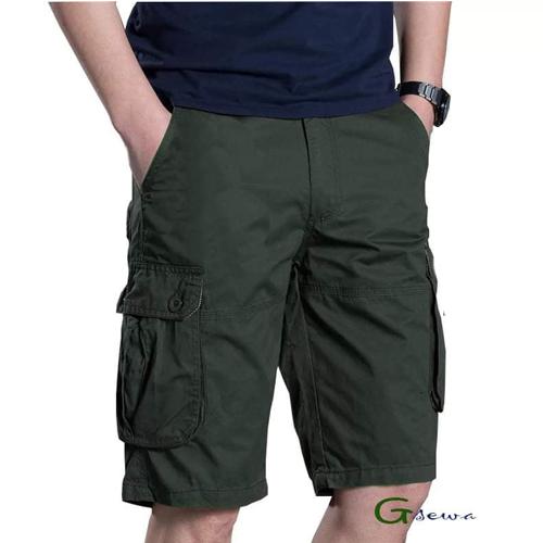 Men's Green Color Cotton Shorts