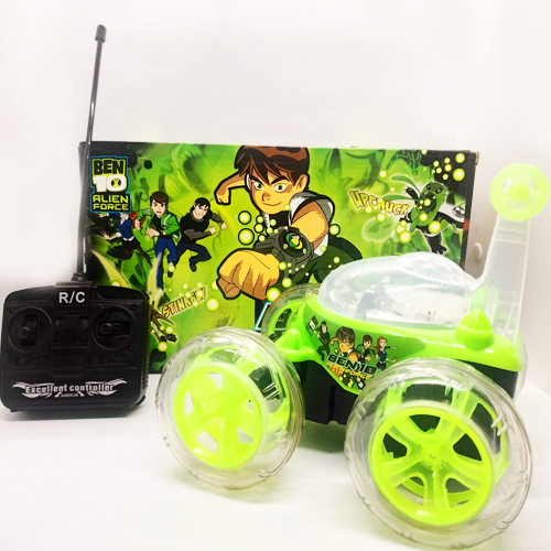 Ben 10 Remote Control Rechargable Acrobatic 360 Degree Twisting Stunt Car with Music & Lights and Charger for Kids (Green)