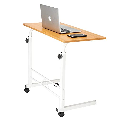 Height Adjustable Sofa Side Table with Wheels,Rolling Coffee Snack Table,Portable Laptop Computer Desk TV Tray Mobile Sofa Chair Side End Table for Living Room Bedroom,White