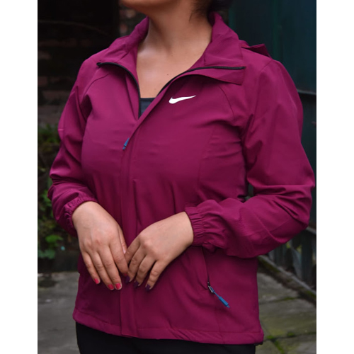 Women's Maroon Hooded Wind Resistant/Water Repellent Windbreaker Jacket