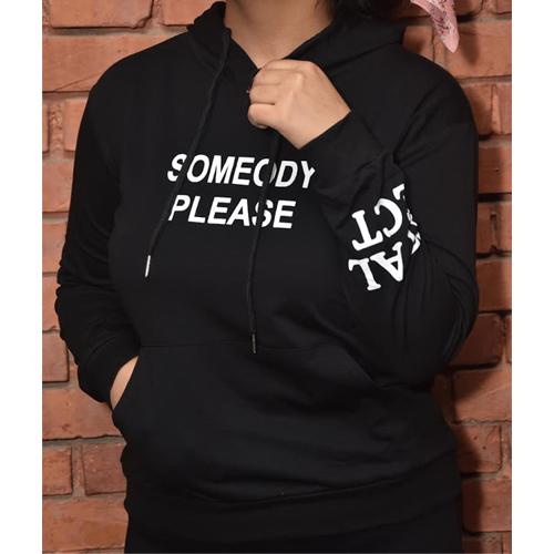 Women  Black Performance Fleece Pullover Hoodie (Someody Please) Graphics