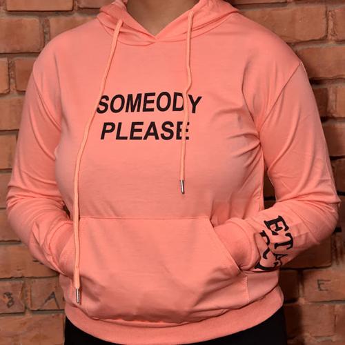 Women's Peach Color Performance Fleece Pullover Hoodie (Someody Please) Graphics