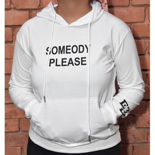 Women's White Performance Fleece Pullover Hoodie (Someody Please) Graphics