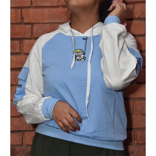 Women Navy Blue Performance Fleece Pullover Hoodie with Arm pocket Design