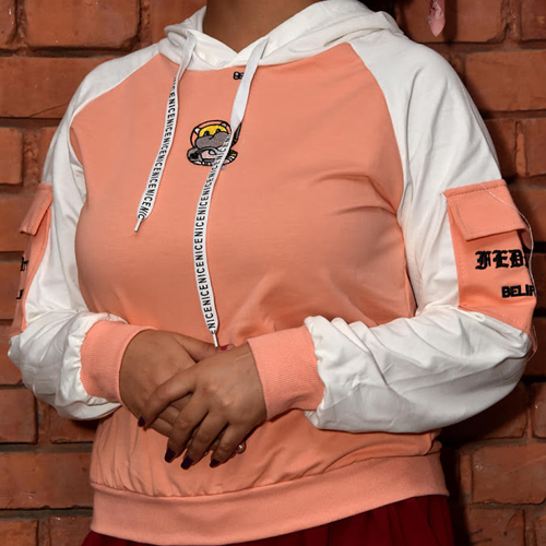 Women Peach Color Performance Fleece Pullover Hoodie with Arm pocket Design