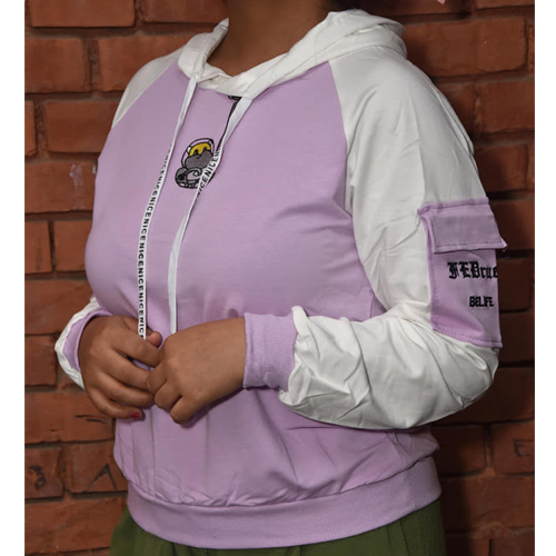 Women Purple Performance Fleece Pullover Hoodie with Arm pocket Design