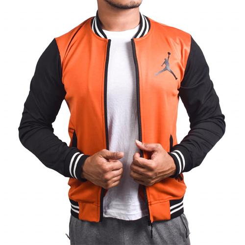 Air Jordan Orange Black With Zipper Bomber Baseball Jacket for Men original Cotton