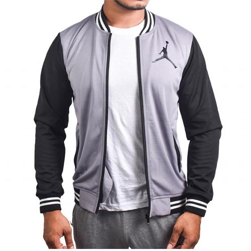 Air Jordan Grey Black With Zipper Bomber Baseball Jacket for Men original Cotton